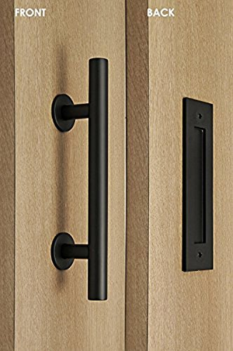 Door Entry Flush (Modern and Contemporary Pull and Flush Door Handle Set / Commercial / Residential Grade Stainless Steel / Black Powdered Finish)