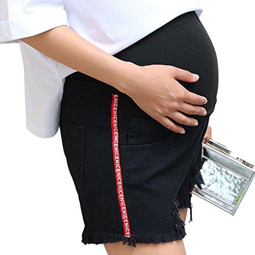 Denim Jeans Maternit Bump Ceinture Shorts Over Pantalons Meijunter Grossesse de Court Noir Enceinte Femme wqnB6f18Z