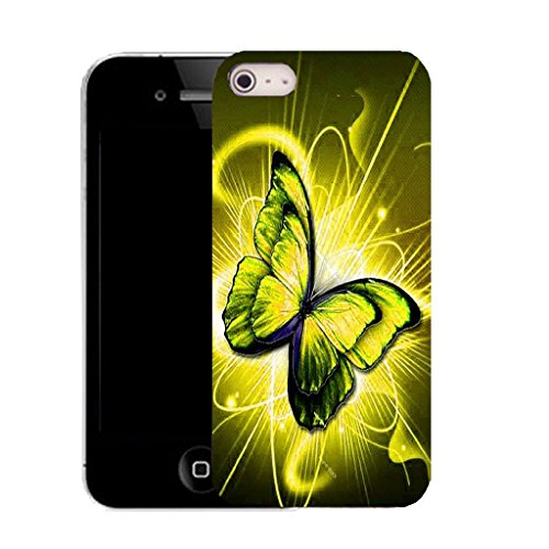 Mobile Case Mate IPhone 4s clip on Silicone Coque couverture case cover Pare-chocs + STYLET - YELLOW TWIRL BUTTERFLY pattern (SILICON)