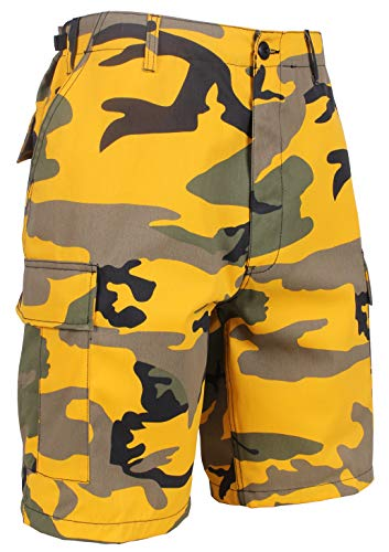 (Rothco Colored BDU Shorts, Stinger Yellow Camo, Large)