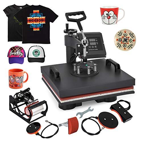 VEVOR Heat Press Machine15x15inch 5 in 1 Digital Multifunctional Sublimation Auto-Countdown Heat Presser for T Shirts Hat Mug (15x15INCH 5IN1 Auto-Countdown)