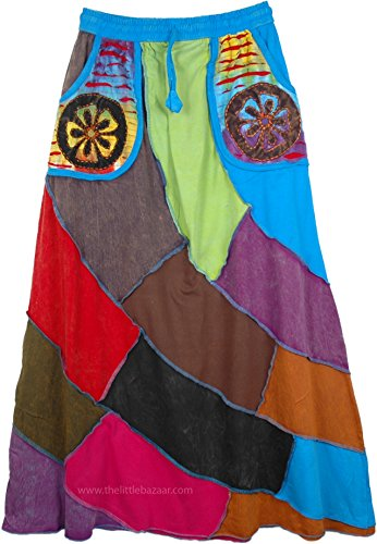TLB - Solid Patchwork Boho Hippie Skirt with Pockets - L:36