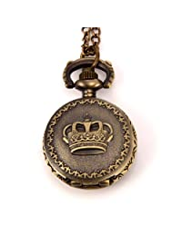 JewelryWe Steampunk Pocket Pendant Watch Vintage Crown Design on Lid with 30 inch Chain Long Sweat Necklace Black Friday Christmas Valentine's Day Gift