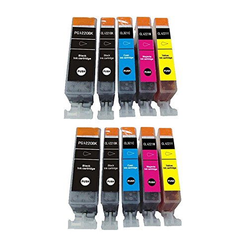 YATUNINK Compatible Ink Cartridge Replacement for Canon PGI-220 PGI220 CLI-221 CLI221 (2 Large Black 2 Cyan 2 Magenta 2 Yellow 2 Small Black) 10 Pack for Canon PIXMA MX860 MX870 MP560 MP620 Printer