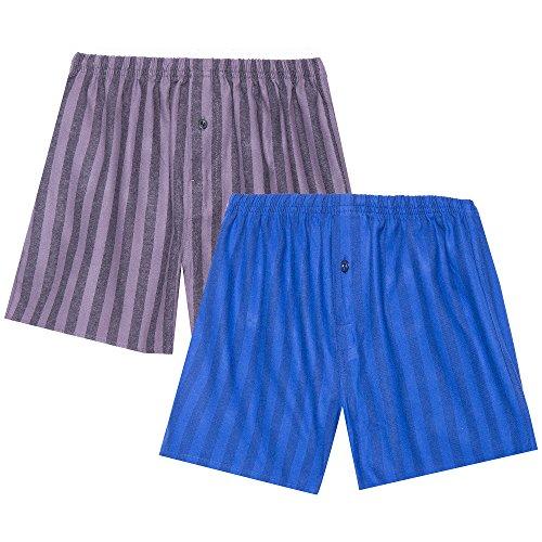 - 2 Pack - Stripes Tonal Blue/Black-Grey - X-Large (Blue Flannel Boxer)