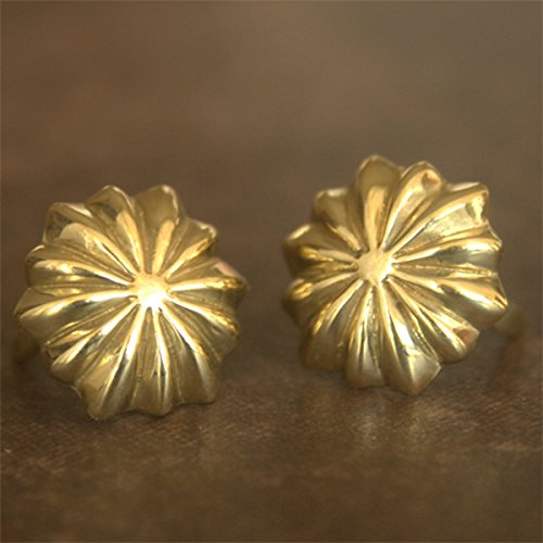 2-pack Small Native Flower Concho Prong Concho Brass Leathercraft Japan-Model Dia.11mm (Small Concho)