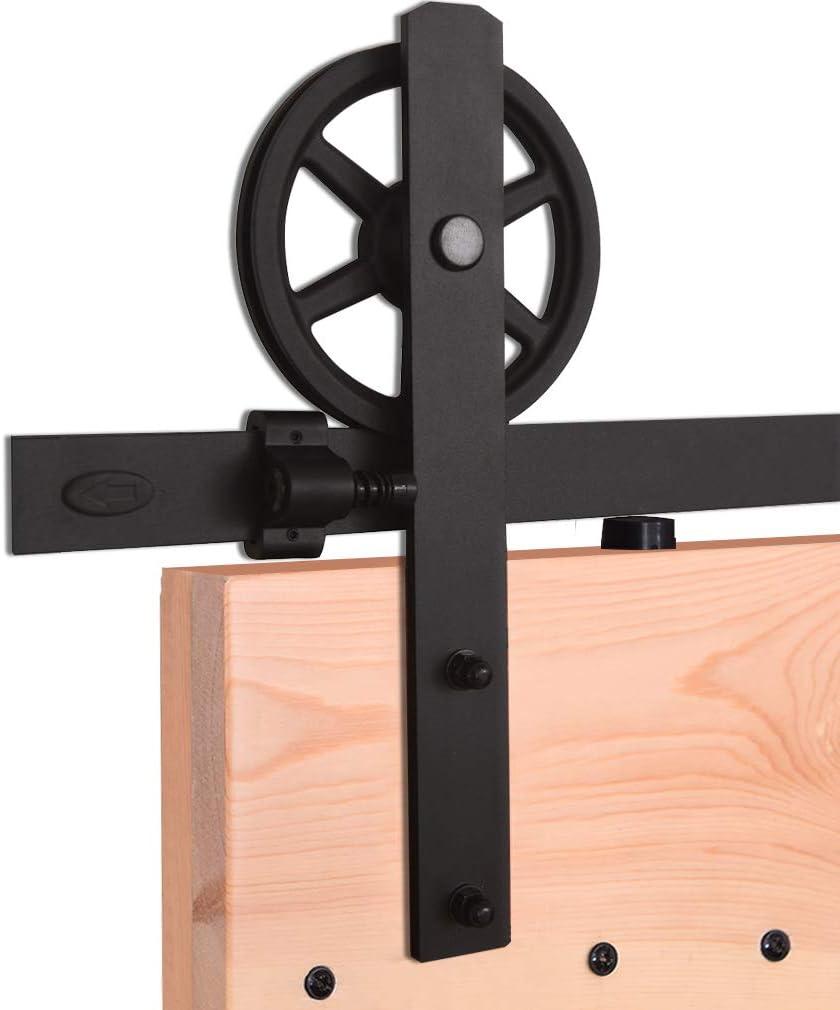 7.5FT//228cm Sliding Barn Wood Door Hardware Closet Track Kit Single door Portes coulissantes Mat/ériel Trousse Unique patin /à roulettes