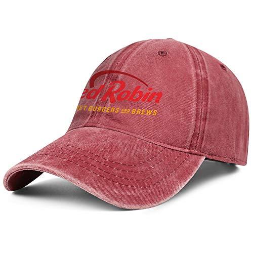 Unisex Mens Denim Baseball Hat Adjustable Mesh Strapback Red-Robin-Gourmet-Burgers-Brews-Restaurant-Flat Cap