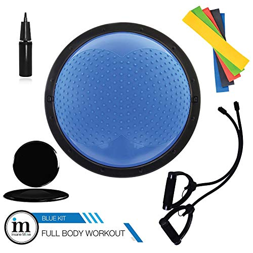 Insane Move 2018 New 23 inch Half Balance Ball With Straps, Elastic Resistance Bands & Slide Discs | Anti Slip, Durable & Portable | For Core Training, Yoga, Pilates