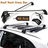 ROKIOTOEX Extendable Universal Shark Aluminum Alloy Roof Rack Crossbars for Outer Grooved Roof Rack Flush Rails - Silver and Black (SGCB9999)