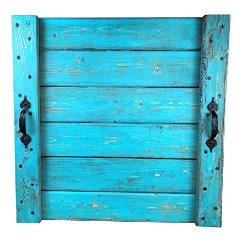 - Distressed Turquoise Wood Square Serving Tray Rustic Farmhouse Decor