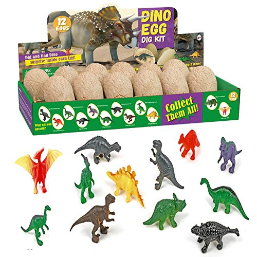 Mizzuco Dinosaur Dig Kit,12 Dino Shaped Dig Bricks with Dinosaur Figures Archaeological Excavation Educational Toys for Children Over 6 Years