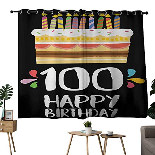 NUOMANAN Decor Curtains by 100th Birthday,Old Legacy 100 Birthday Party Cake Candles on Black Major Milestone Backdrop,Multicolor,Modern Farmhouse Country Curtains 42