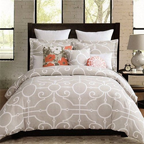 Max Studio 3pc Queen Duvet Cover Set Large Scroll Moroccan