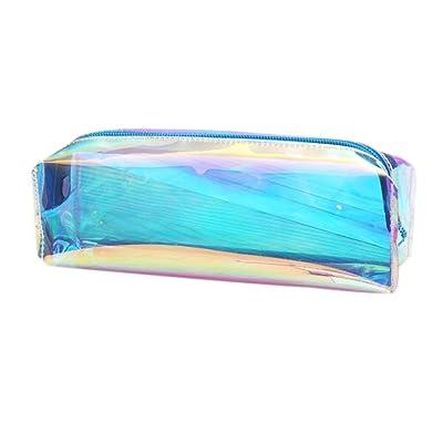 1 estuche transparente para lápices, creativo, con cremallera, de poliuretano, para guardar lápices, para adolescentes y niños: Oficina y papelería