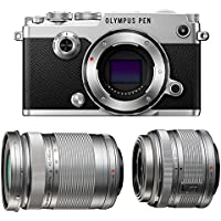 Olympus PEN-F Mirrorless Micro Four Thirds Digital Camera with Olympus M.Zuiko Digital ED M.Zuiko Digital ED 14-42mm f/3.5-5.6 II R & 40-150mm f/4.0-5.6 R Lenses (Silver)