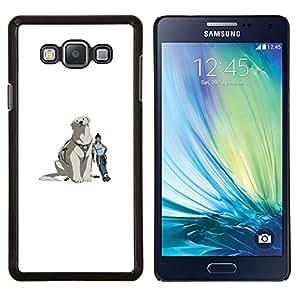 Yeti perro- Metal de aluminio y de plástico duro Caja del teléfono - Negro - Samsung Galaxy A7 / SM-A700