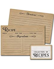 50 Recipe Cards - Tan Vintage Style | 4 x 6 inches, Double Sided with Recipe Box Sticker | Bridal Shower, House Warming Gift