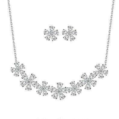 66cc91b2423e treasurebay Elemento de Cubic Zircon cristales austriacos elegante flores  detalles - Conjunto de collar y pendientes de joyas en caja regalo   Amazon.es  ...