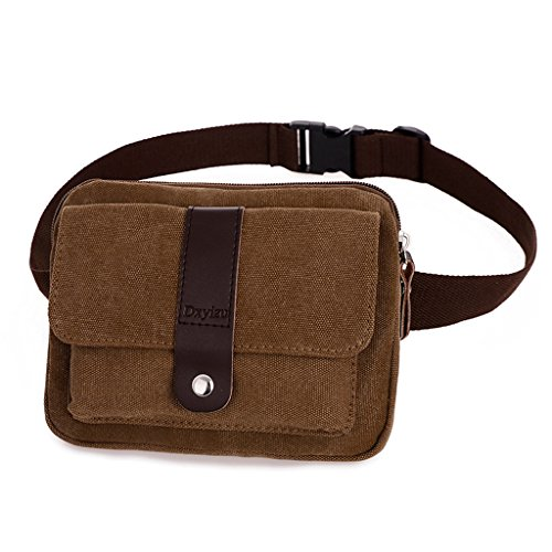 Daosen Small Canvas Multiple Pocket Adjustable Fanny Pack Travel Waist Bag Hip Purse Belt Bag Bum Bag - Genuine Belt Cotton