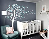 LUCKKYY Tree Blowing in the Wind Tree Wall Decals Wall Sticker Vinyl Art Kids Rooms Teen Girls Boys Wallpaper Murals Sticker Wall Stickers Nursery Decor Nursery Decals (White+Blue)