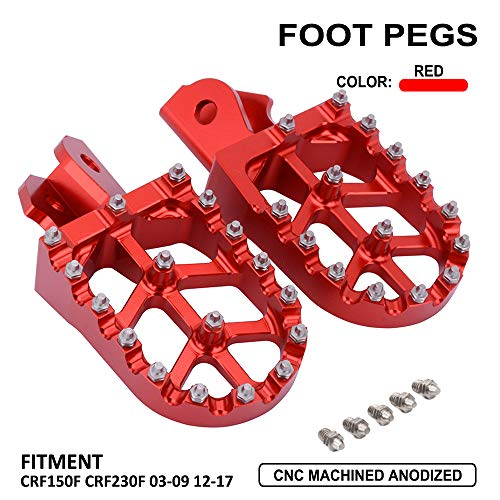 JFG RACING Billet MX Wide Foot Pegs Footpegs Foot Pedals Rests - For Honda CRF150F 03-19 CRF230F 03-19- Red ()