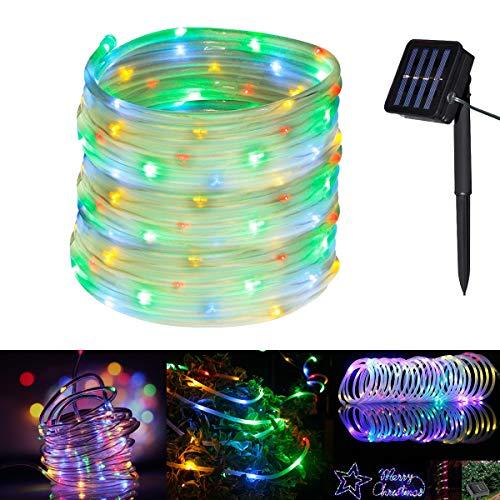 Glückluz Manguera de Luces Solares Cadena Guirnalda de Luces 100 LEDs 10m Impermeable Iluminación al Aire Libre para...