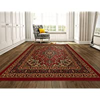 Ottomanson Ottohome Persian Heriz Oriental Design Area Rug with Non-Skid Rubber Backing, Red, 98' L x 118' W