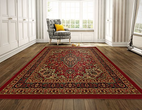 Ottomanson Ottohome Persian Heriz Oriental Design Area Rug with Non-Skid Rubber Backing, Red, 98