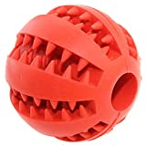 Aduck Indestructible Dog Ball Toys for Aggressive Chewers Tooth Cleaning [Dental Treat] [Bite Resistant] Natural Soft Bouncy Rubber Toy Balls for Pet IQ Training Playing and Chewing -2.8 Inch