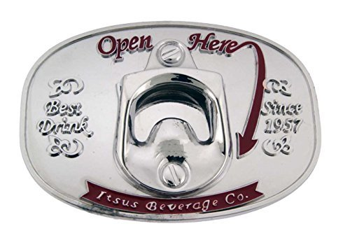 - Open Here Plain White with Red Text Finishing Bottle Opener Belt Buckle.