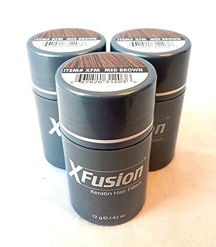 3 Pack Special - XFusion Keratin Hair Fibers - Medium Brown - 12 Gram - Xfusion Fiber