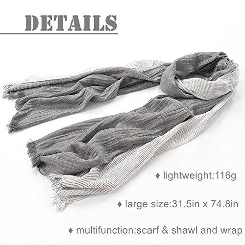 Kalevel Large Scarf Shawl Wrap Cotton Shawls and Wraps with Fringe - Dark Grey by Kalevel (Image #3)