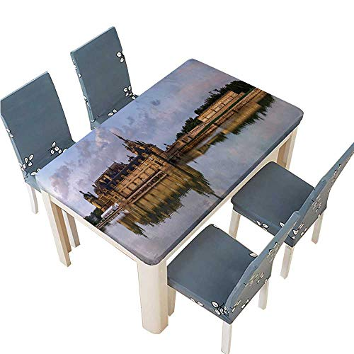 PINAFORE Waterproof SpillProof Tablecloth Chantilly Castle Panoramic View on Sunset Background with Reflection in The for Picnic,Outdoor or Indoor Party use W65 x L104 INCH (Elastic Edge)