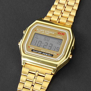 Amazon.com: Unisex Multi-Function Square LCD Dial Alloy Band Digital Watch (Gold): Watches