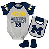 Outerstuff NCAA Michigan Wolverines Newborn & Infant Blitz Bodysuit, Bib & Booties, Heather Grey, 18 Months