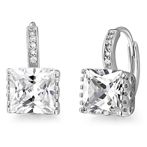 GULICX Hoop Huggie Earrings White Jewelry White Gold Electroplated Princess Cut Zircon Square Stone Drops