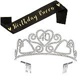 SWEETV Rhinestone Birthday Tiara and Black Glitter Birthday Queen Sash Set - 15/16/18/21/30/40/50/60/70th Birthday Gift Party Supplies, 40th