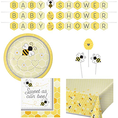 Olive Occasions Baby Bumble Bee Baby Shower Paper Disposable Party Supplies Serves 16 Plates, Napkins, Banner, Table Cover, Centerpiece Sticks, Grandma Olive's Multi-Generational