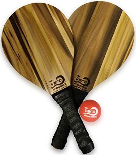 2 Bamboo Wood Frescobol Beach Paddles, one Official Ball & draw-string tote-bag with reflector by Frescobol
