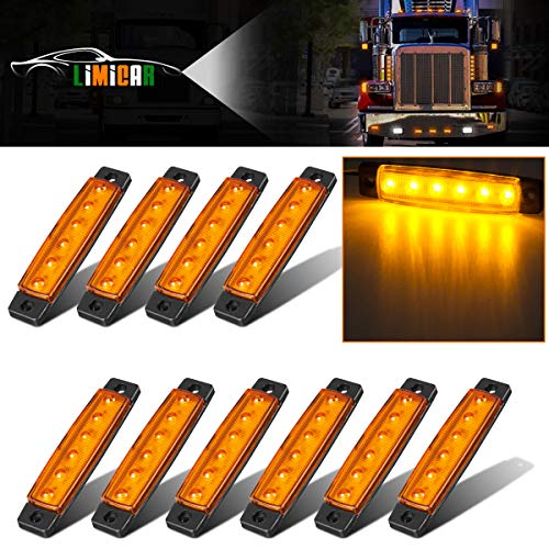 LIMICAR 10PCS Amber Front Side Marker Light Indicator Light 3.8' 6 LED Fits for Jeep SUV Trailer Trucks Boat RV Rear Side Marker Light with Wire Harness