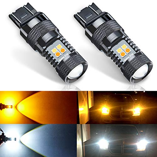 ANTLINE Extremely Bright 7443 7443LL 7444 T20 992 Switchback LED Bulbs White/Yellow 3030 Chipsets with Projector for Turn Signal Lights (Pack of 2)