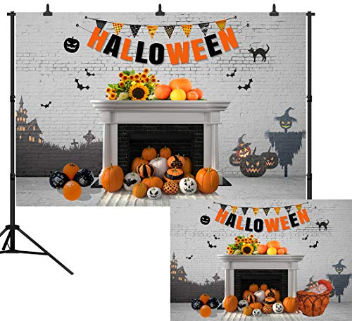 Happy Halloween Pumpkins White (DePhoto 9X6FT Happy Halloween Backdrop Graffiti White Brick Wall Photography Pumpkin Sunflowers Decoration Seamless Vinyl Party Banner Photo Background Studio Prop)