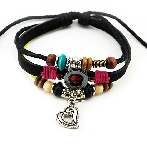 Hollow Out Silvery Romantic Heart Pendant Good Leather 1 Braided Rope Bracelet