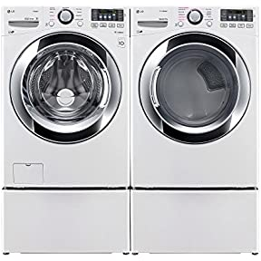 WM3370HWA+DLEX3370W+WDP4W X2!- Ultra-Capacity Laundry System with Steam PLUS Matching Storage Pedestals in PURE WHITE COLOR