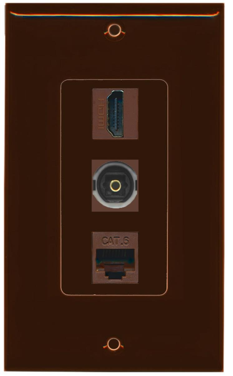 RiteAV - 1 Port HDMI and 1 Port Toslink and 1 Port Cat6 Ethernet Decorative Wall Plate - Brown
