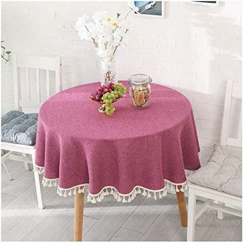 SQUZEA Moderno Redondo de Color sólido Mantel algodón Ropa de Mesa ...
