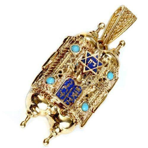 Baltinester Jewish Jewelry 14k Yellow Gold Filigree Torah Scroll Pendant Turquoise Blue Enamel