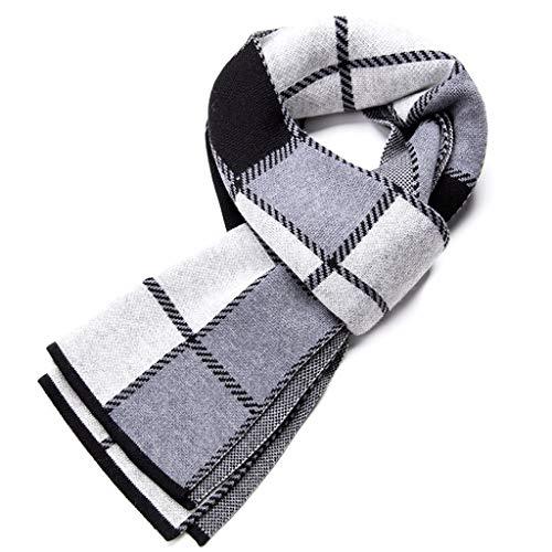 WXL Plaid Series High Grade Men Scarf Thick Winter Keep Warm 180cm×30cm V (Color : Gray)