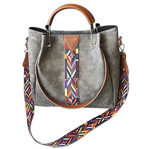 Onfahion Women's Colorful Strap Handbag Top Handle Tote Bag Bucket Shoulder Bag 2 pieces